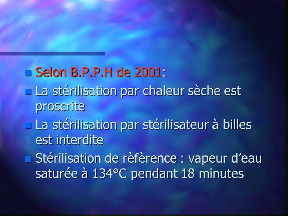 Selon B.P.P.H de 2001:La stérilisation par chaleur sèche est proscrite. La stérilisation par stérilisateur à billes est interdite.