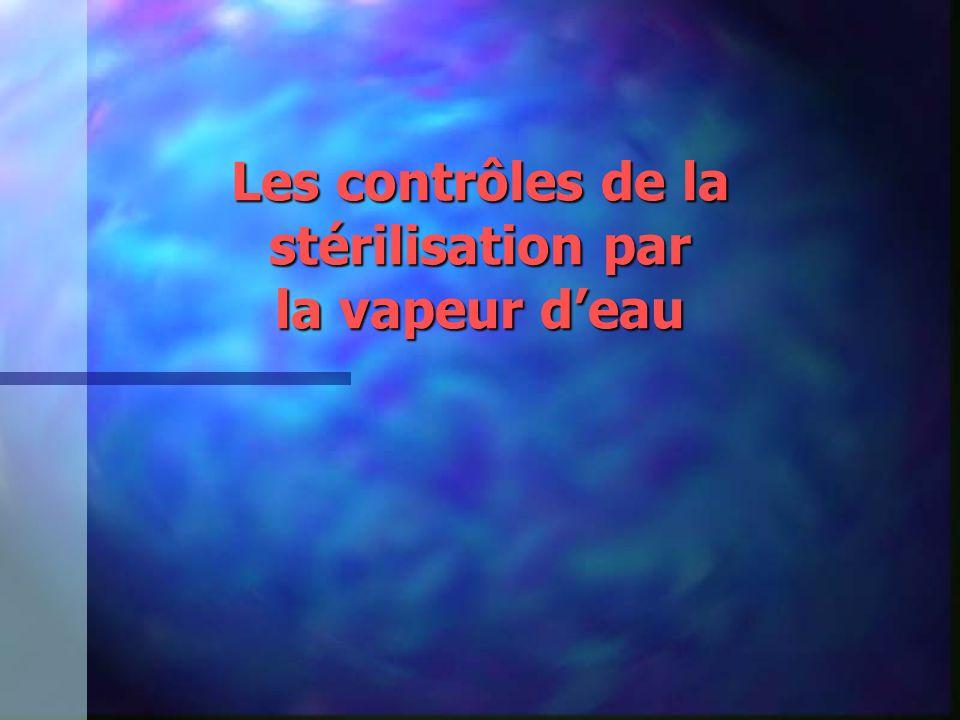 Les contrôles de la stérilisation par la vapeur d'eau