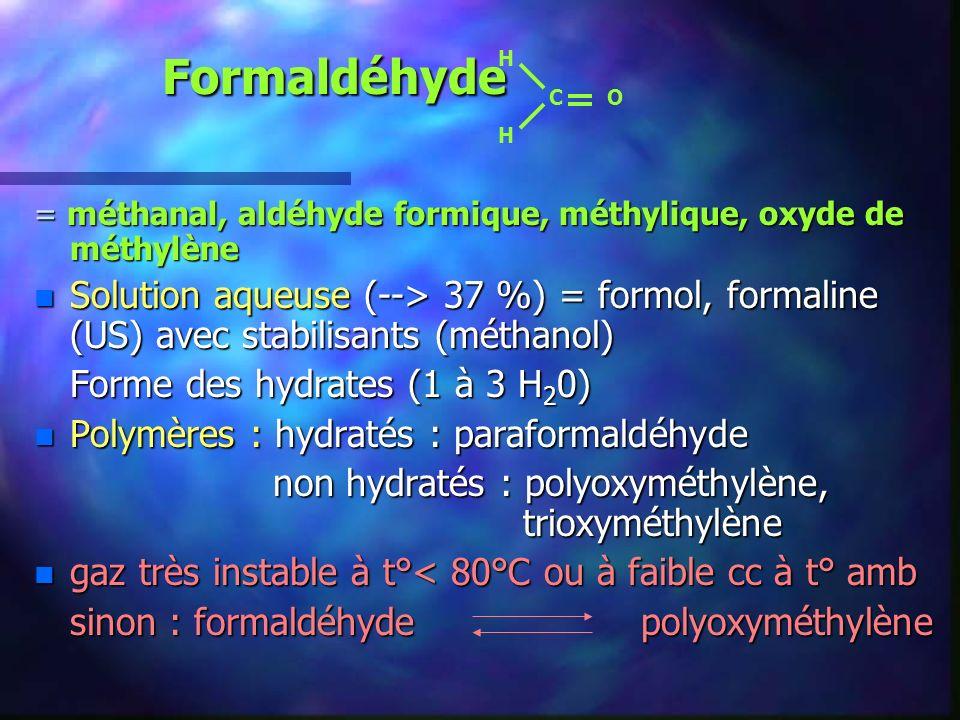 HC O. Formaldéhyde. = méthanal, aldéhyde formique, méthylique, oxyde de méthylène.