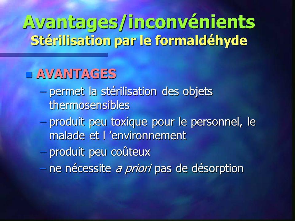 Avantages/inconvénients Stérilisation par le formaldéhyde