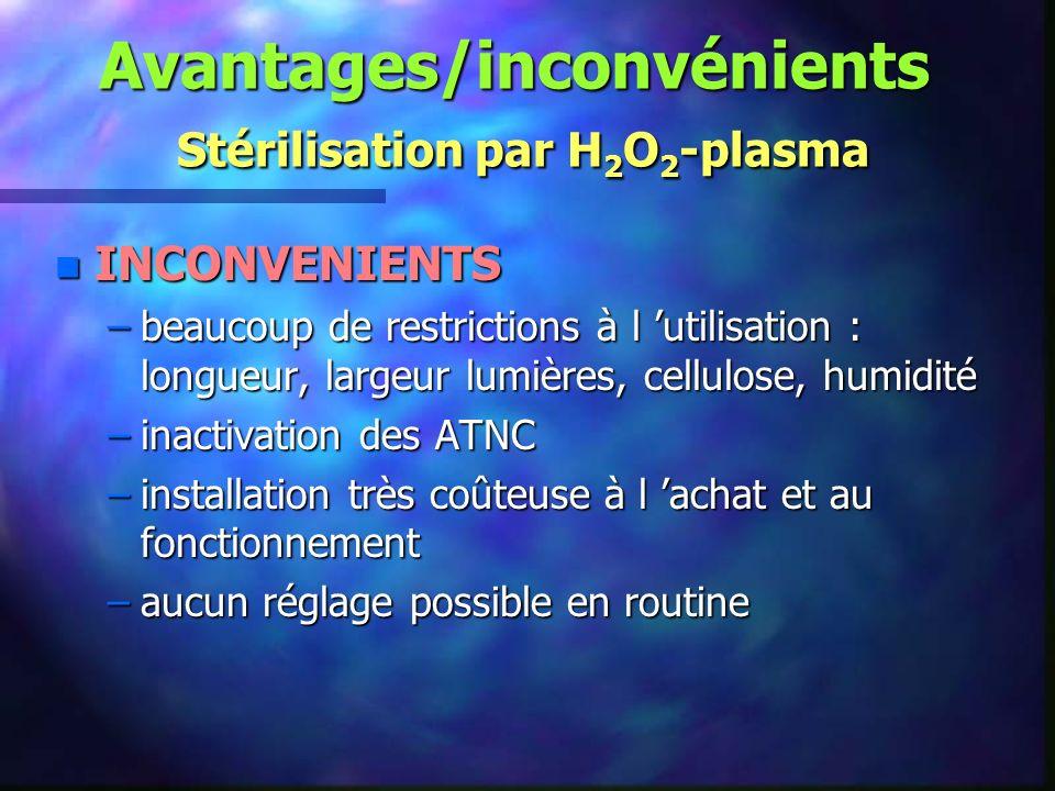 Avantages/inconvénients Stérilisation par H2O2-plasma