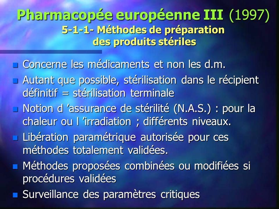Pharmacopée européenne III (1997) 5-1-1- Méthodes de préparation des produits stériles
