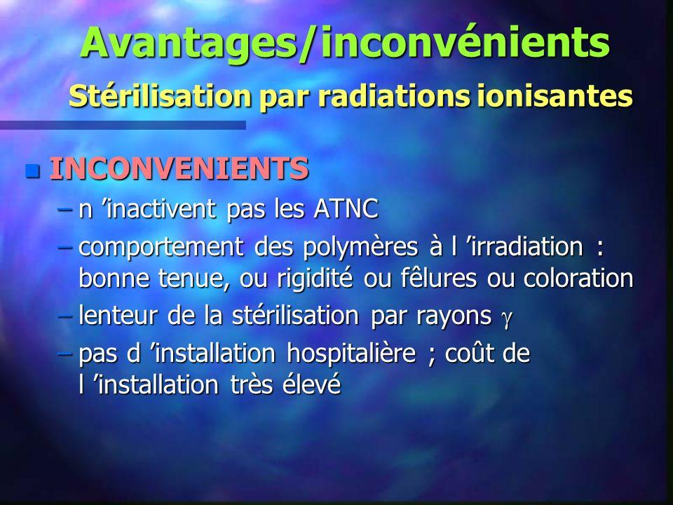 Avantages/inconvénients Stérilisation par radiations ionisantes
