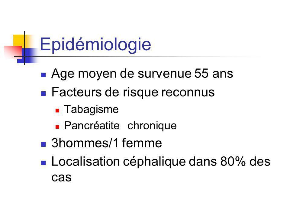 Epidémiologie Age moyen de survenue 55 ans Facteurs de risque reconnus