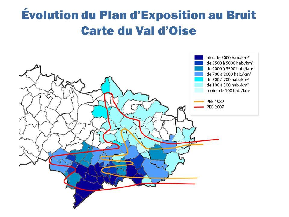 Évolution du Plan d'Exposition au Bruit Carte du Val d'Oise