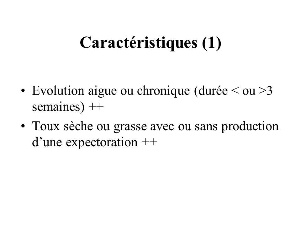 Caractéristiques (1)Evolution aigue ou chronique (durée < ou >3 semaines) ++ Toux sèche ou grasse avec ou sans production d'une expectoration ++