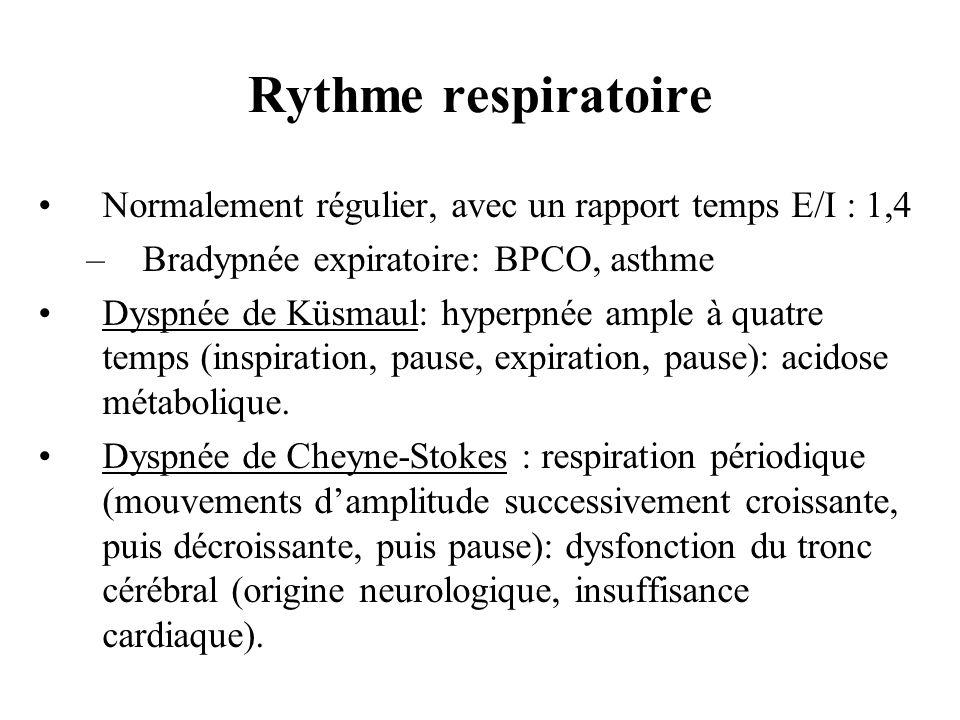 Rythme respiratoireNormalement régulier, avec un rapport temps E/I : 1,4. Bradypnée expiratoire: BPCO, asthme.