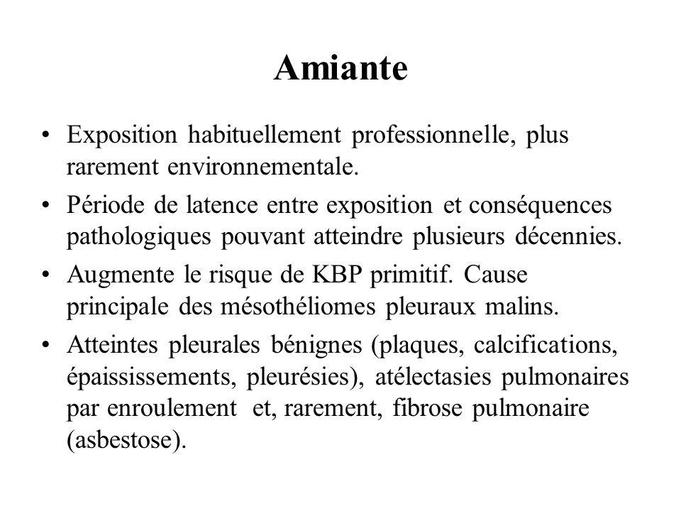 AmianteExposition habituellement professionnelle, plus rarement environnementale.