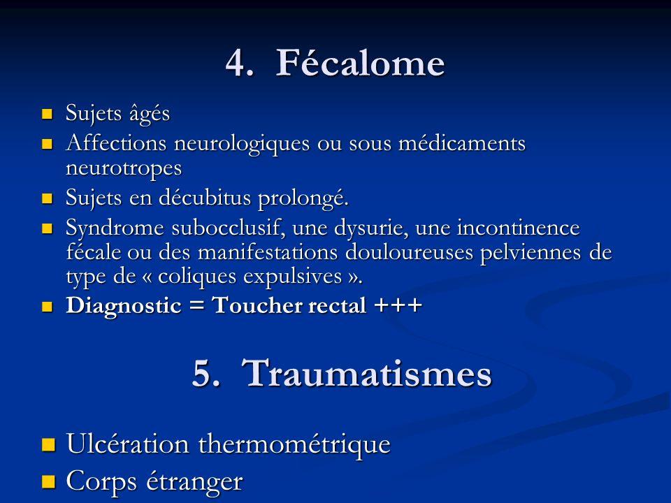 4. Fécalome 5. Traumatismes