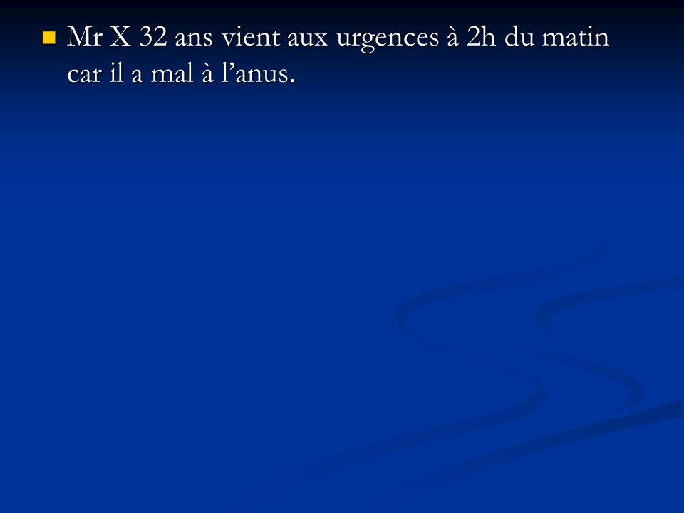 Mr X 32 ans vient aux urgences à 2h du matin car il a mal à l'anus.
