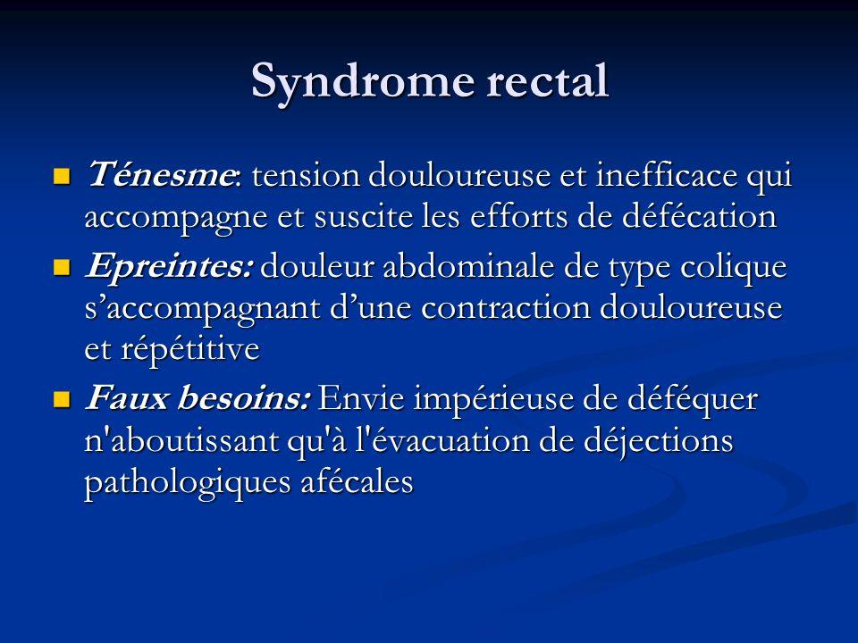 Syndrome rectal Ténesme: tension douloureuse et inefficace qui accompagne et suscite les efforts de défécation.