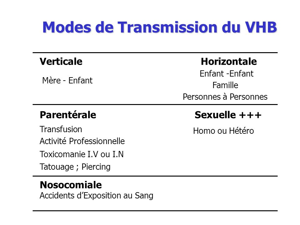 Modes de Transmission du VHB