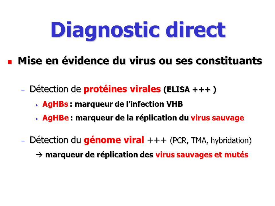 Diagnostic direct Mise en évidence du virus ou ses constituants