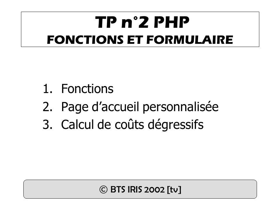 TP n°2 PHP FONCTIONS ET FORMULAIRE