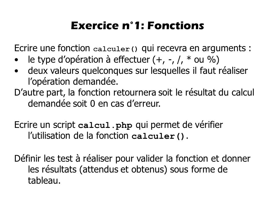 Exercice n°1: Fonctions