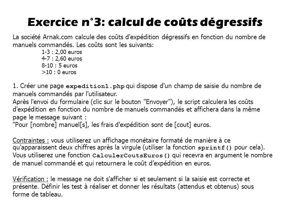 Exercice n°3: calcul de coûts dégressifs