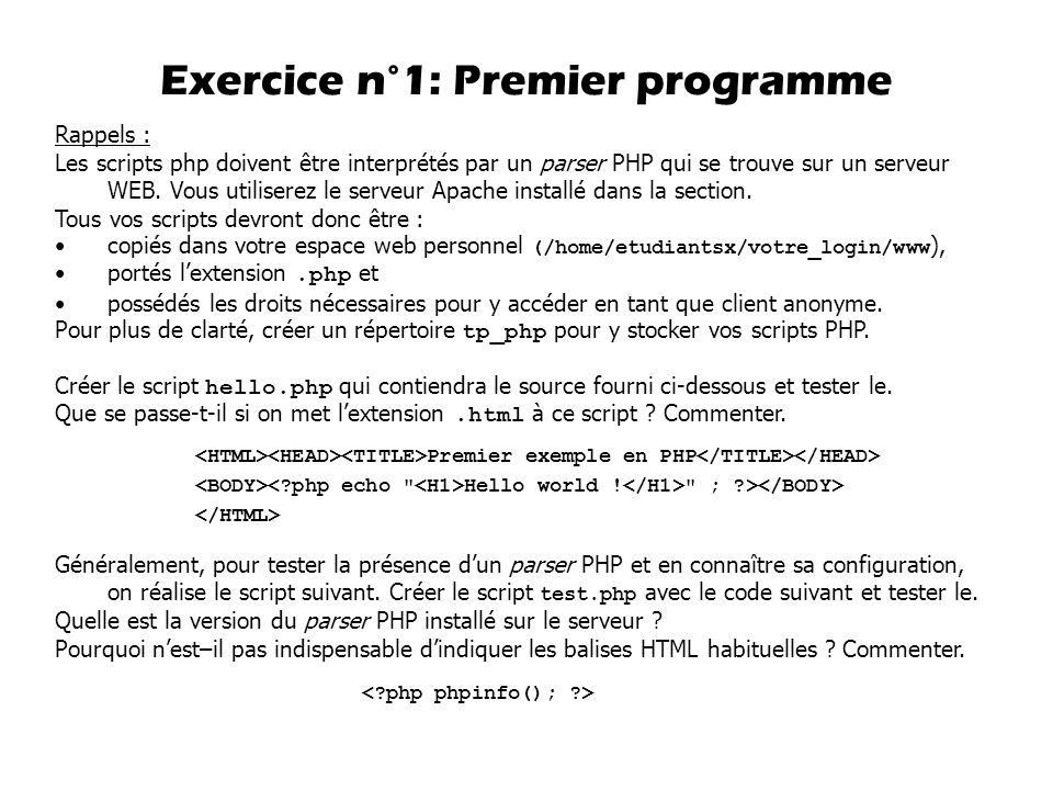 Exercice n°1: Premier programme