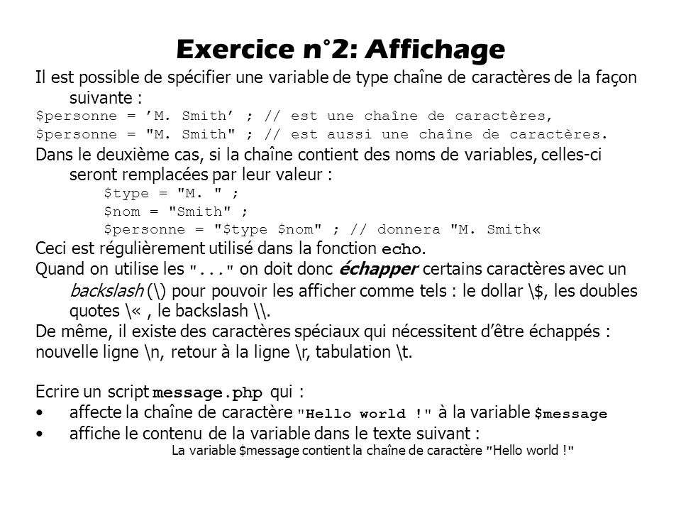 Exercice n°2: Affichage