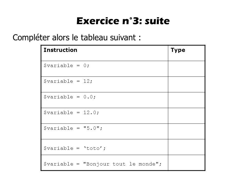 Exercice n°3: suite Compléter alors le tableau suivant : Instruction