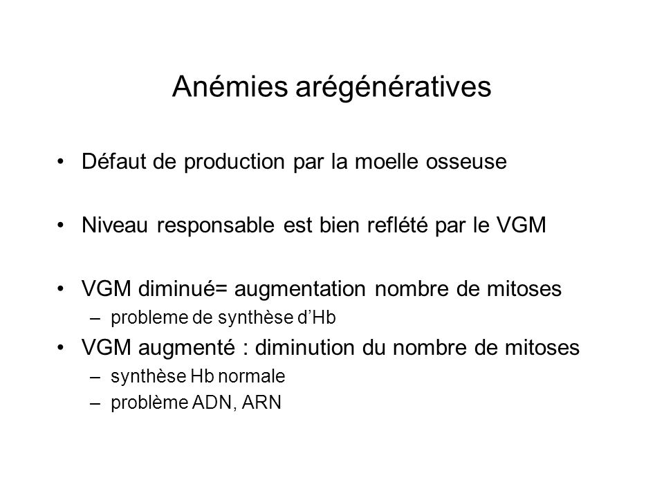 Anémies arégénératives