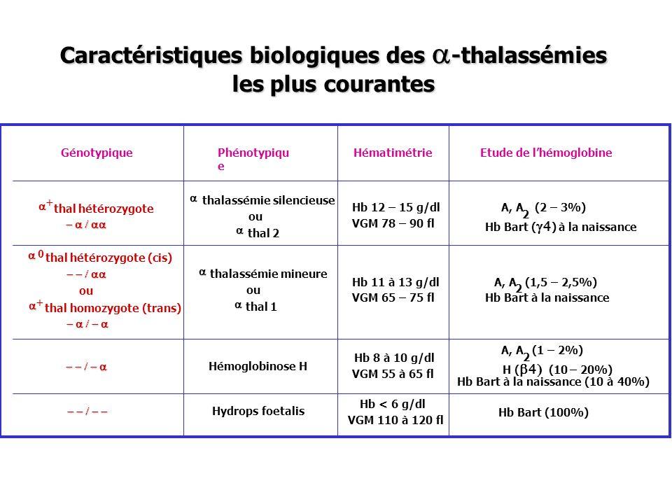 Caractéristiques biologiques des a-thalassémies les plus courantes