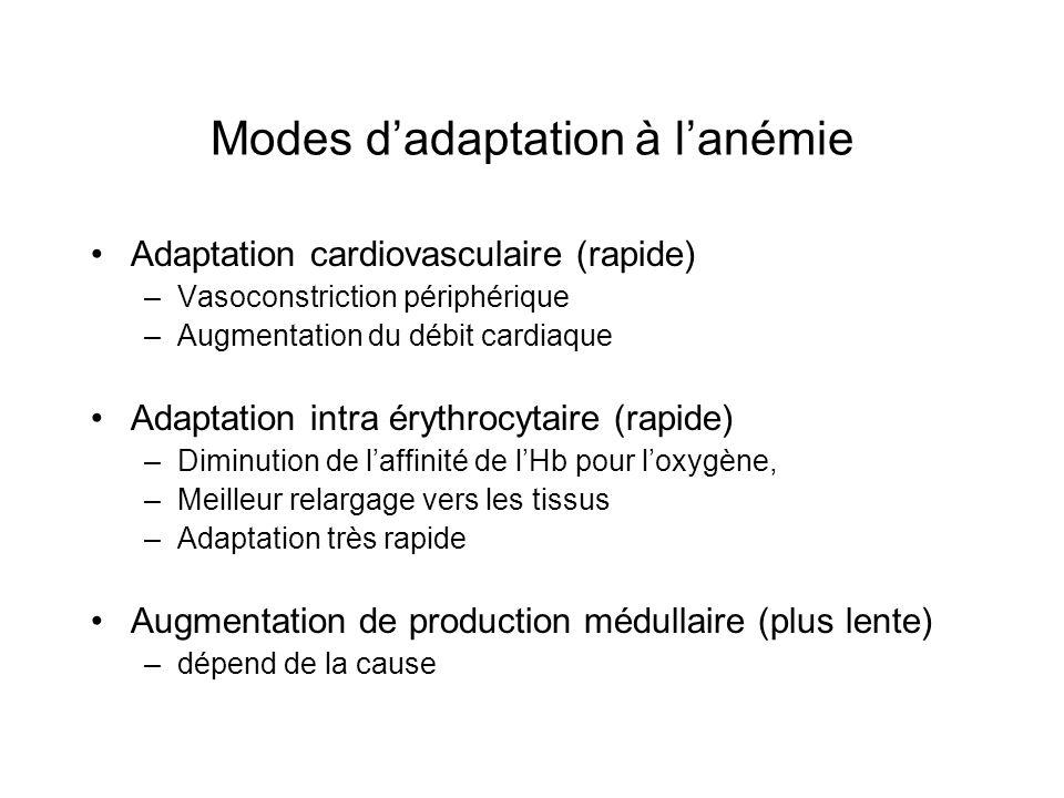 Modes d'adaptation à l'anémie