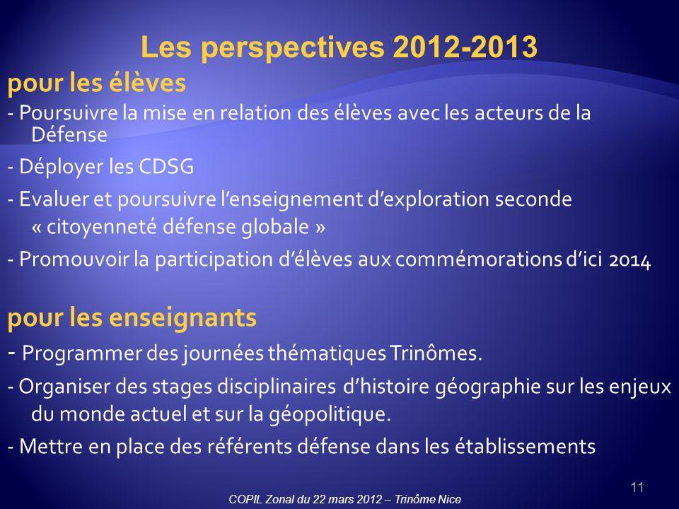 Les perspectives 2012-2013 pour les élèves pour les enseignants