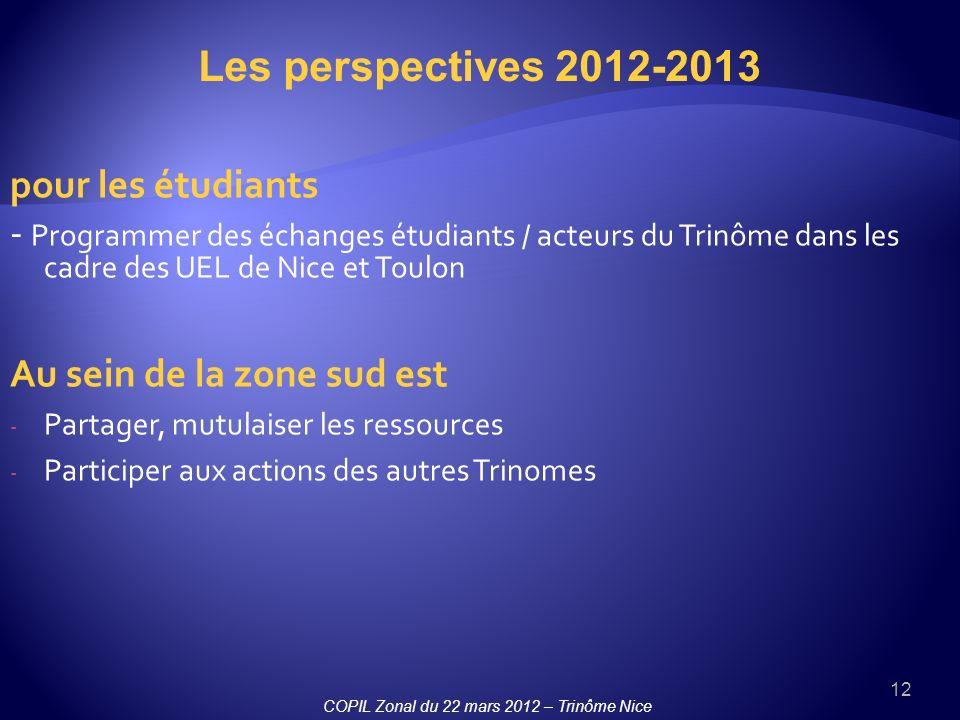 Les perspectives 2012-2013 pour les étudiants