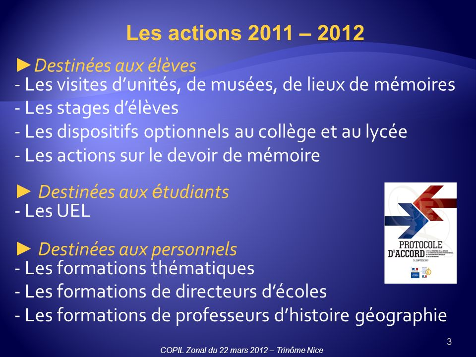 Les actions 2011 – 2012
