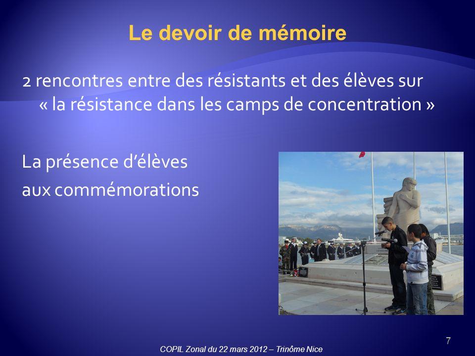 Le devoir de mémoire 2 rencontres entre des résistants et des élèves sur « la résistance dans les camps de concentration »