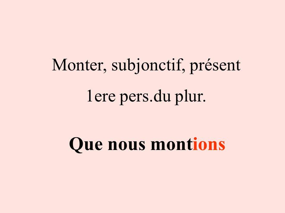 Monter, subjonctif, présent
