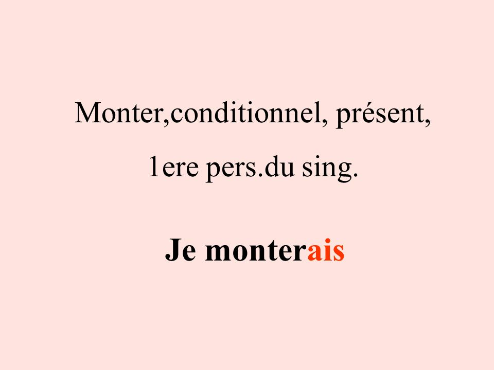 Monter,conditionnel, présent,