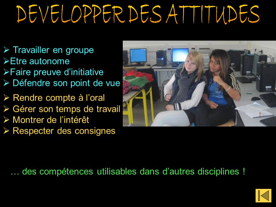 DEVELOPPER DES ATTITUDES