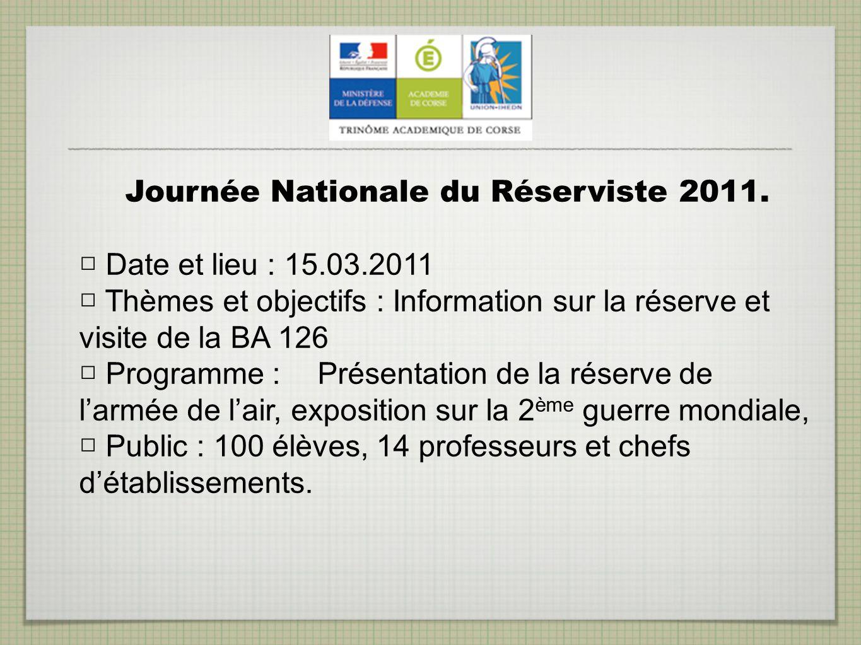 Journée Nationale du Réserviste 2011.