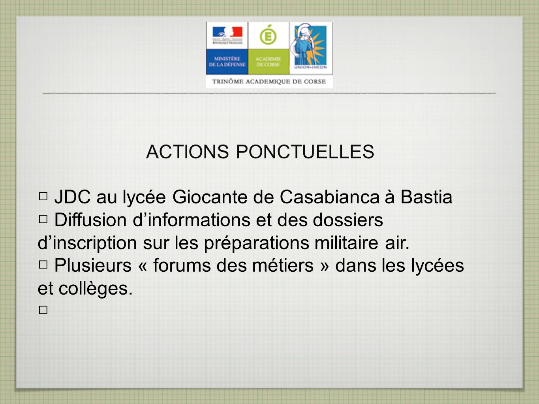 ACTIONS PONCTUELLES □ JDC au lycée Giocante de Casabianca à Bastia.