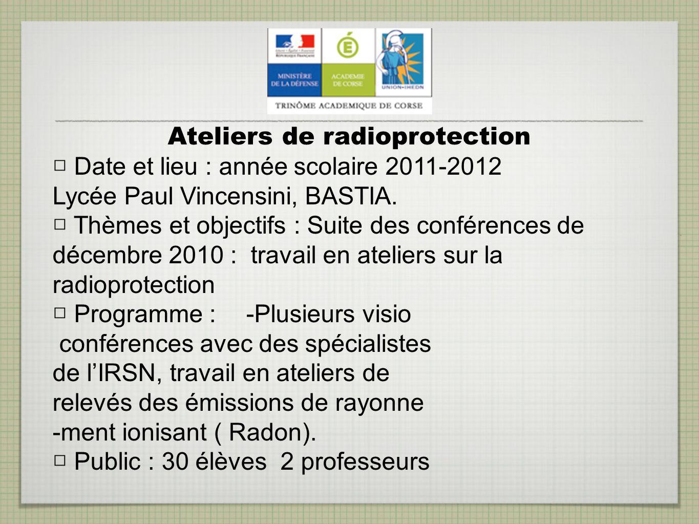 Ateliers de radioprotection
