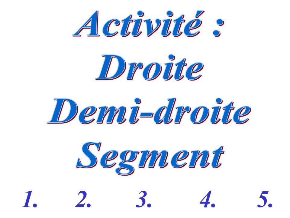 Activité : Droite Demi-droite Segment 1. 2. 3. 4. 5.