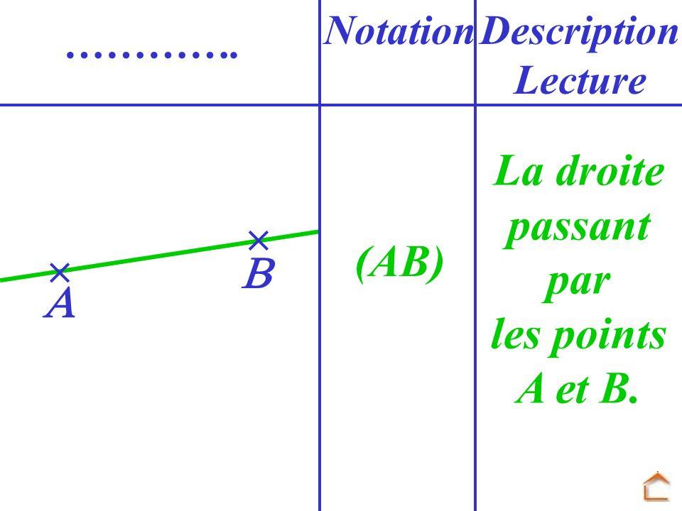 La droite passant par les points A et B. (AB)