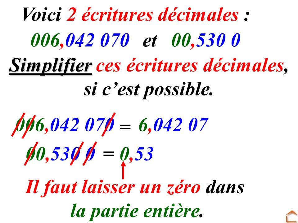 Voici 2 écritures décimales : 006,042 070 et 00,530 0