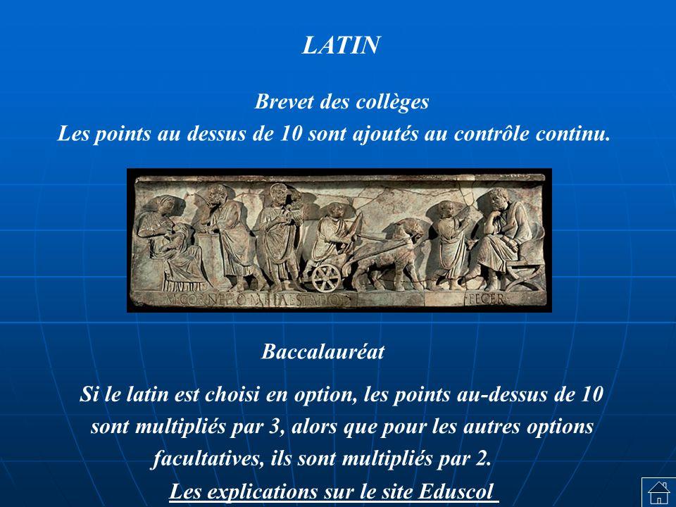 Si le latin est choisi en option, les points au-dessus de 10