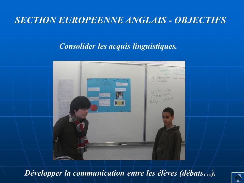SECTION EUROPEENNE ANGLAIS - OBJECTIFS