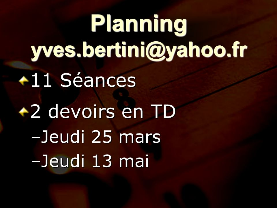 Planning yves.bertini@yahoo.fr