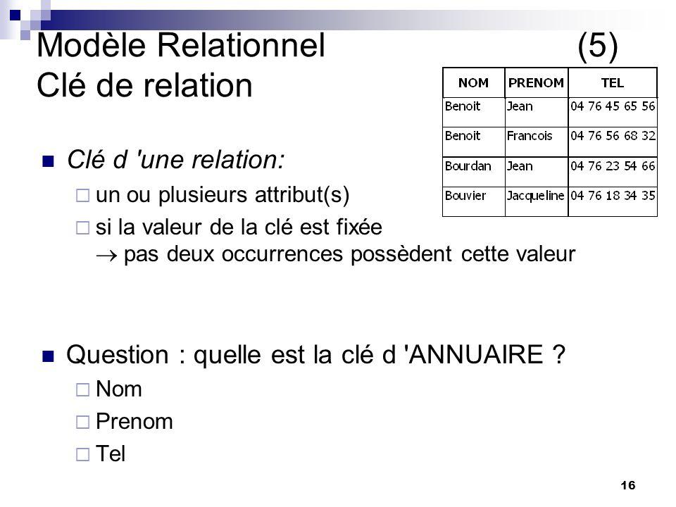 Modèle Relationnel (5) Clé de relation