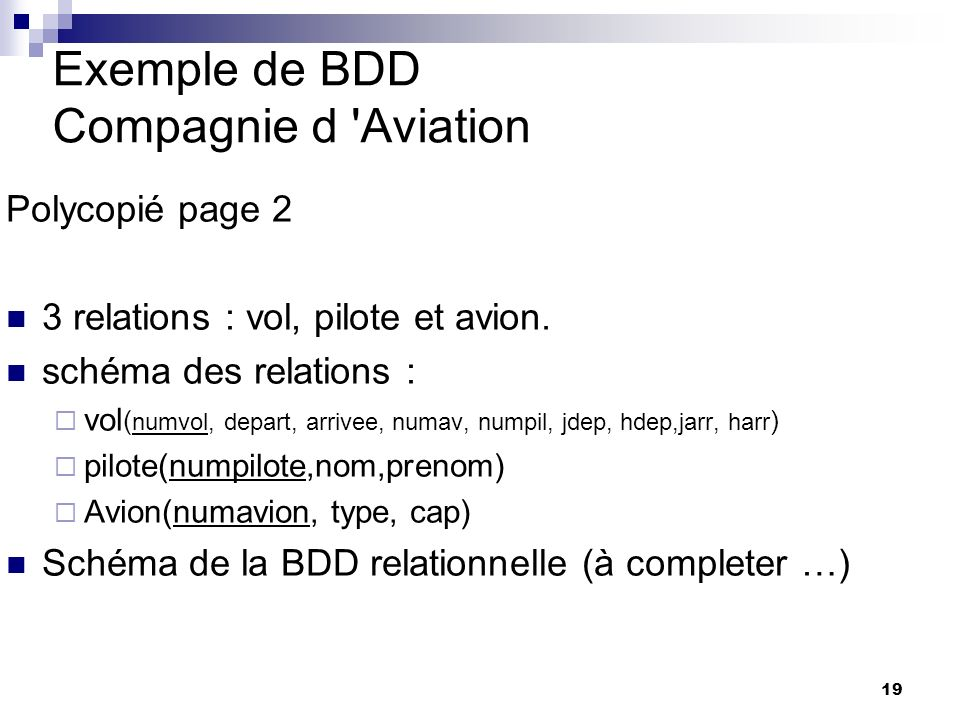 Exemple de BDD Compagnie d Aviation