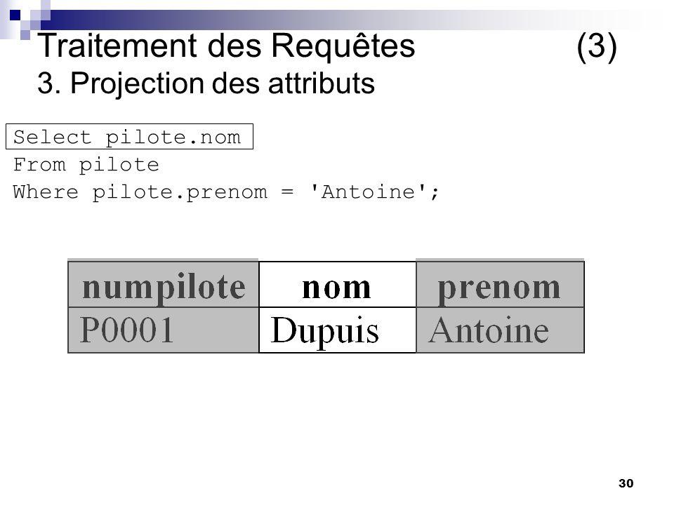 Traitement des Requêtes (3) 3. Projection des attributs