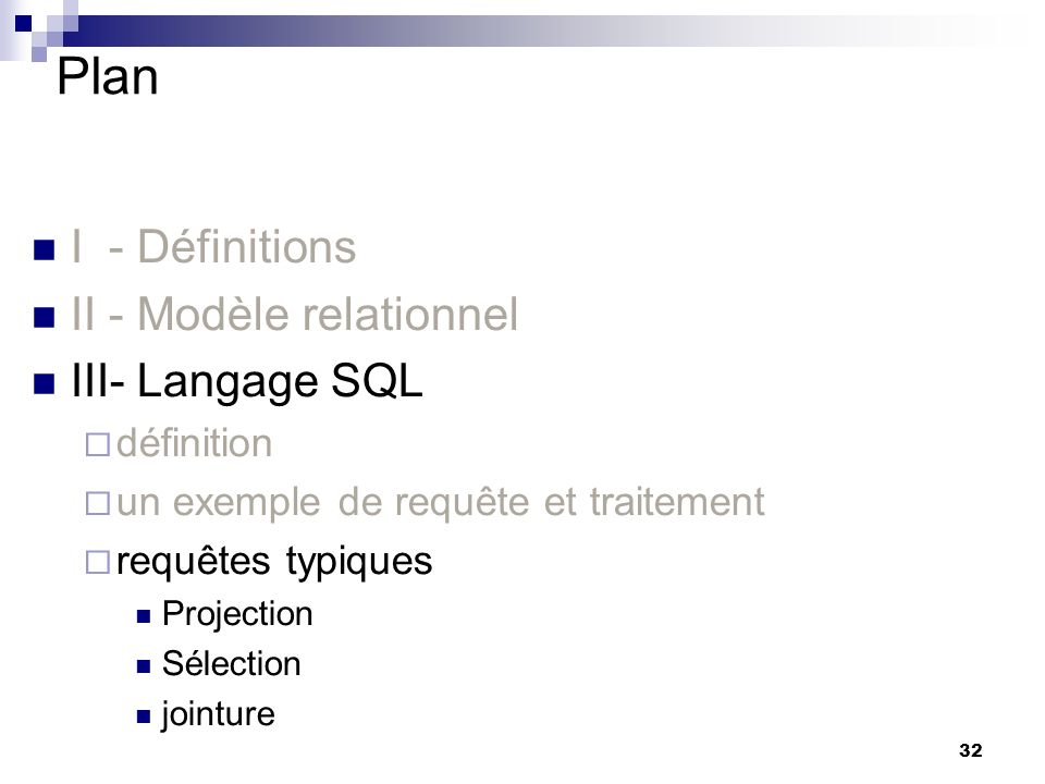 Plan I - Définitions II - Modèle relationnel III- Langage SQL