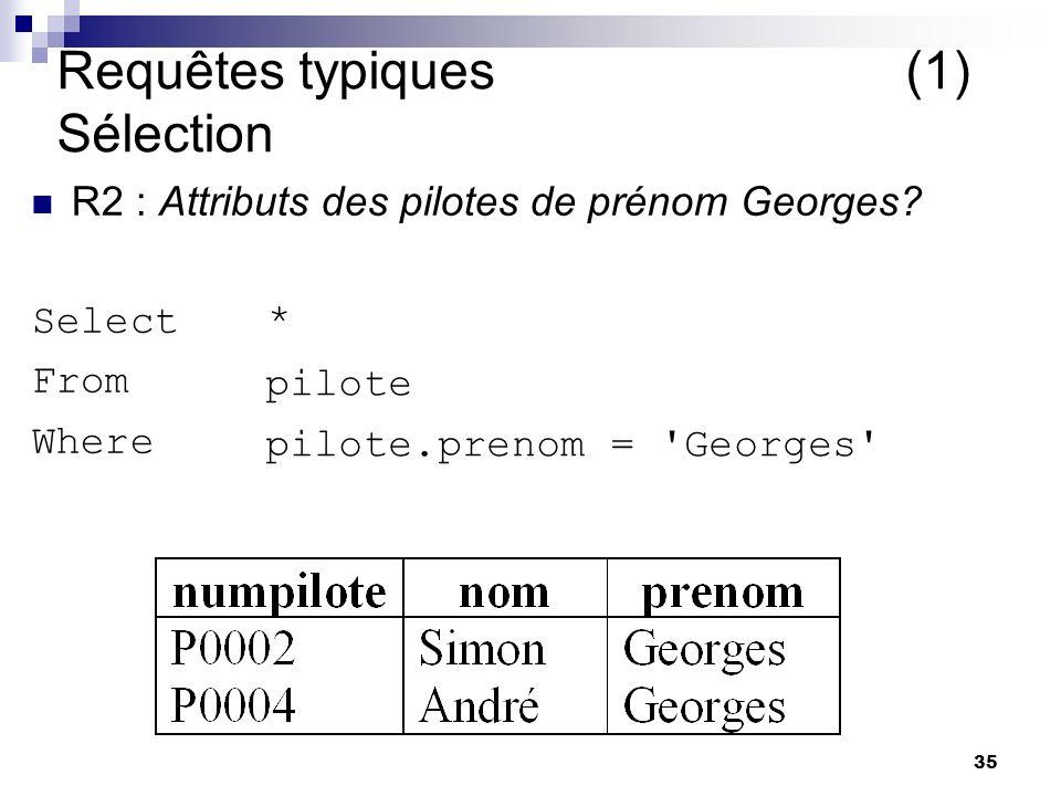 Requêtes typiques (1) Sélection