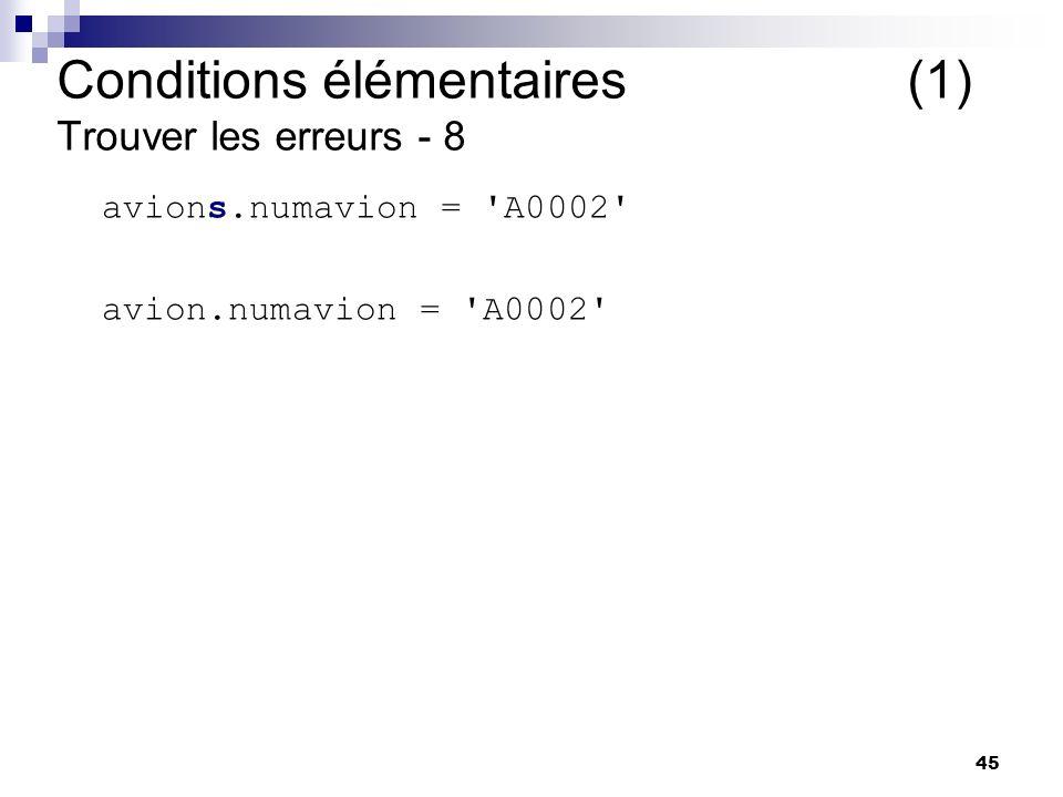 Conditions élémentaires (1) Trouver les erreurs - 8