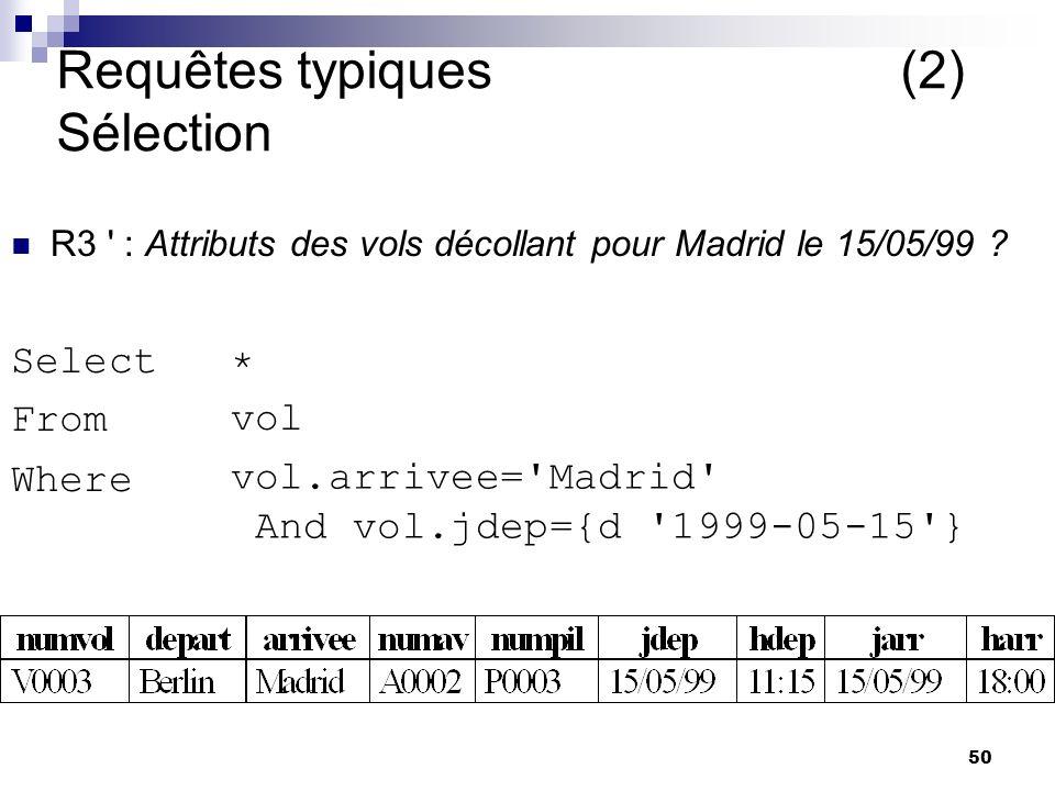 Requêtes typiques (2) Sélection
