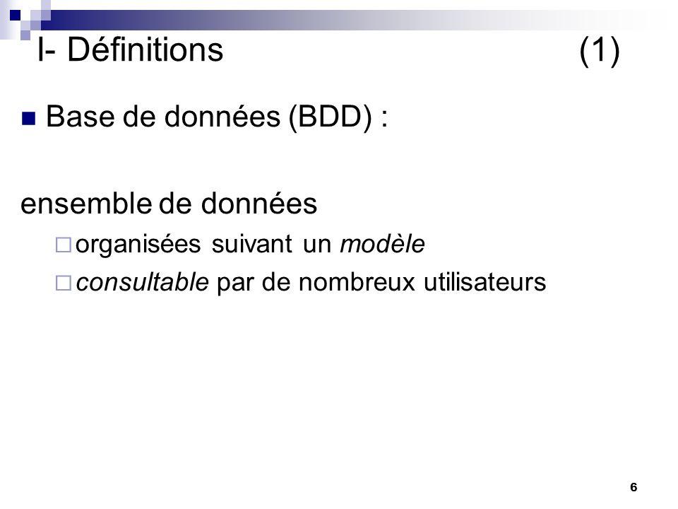 I- Définitions (1) Base de données (BDD) : ensemble de données